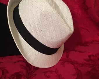 White Straw Fedora Hat w/Black Trim