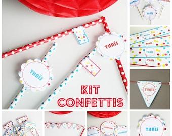 Box theme birthday confetti - to 6 children - custom
