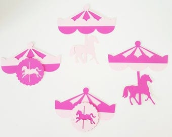 6 toppers carousel made 210 gr paper stick on party favors - party table decoration - christening