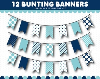 Blue pennant clipart, Blue bunting clipart, Blue flags clipart, Blue banner clipart, Blue digital banner, Clip art banner, CL-1547