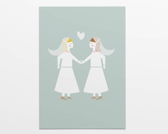 Folding card with cover: Lesbian wedding