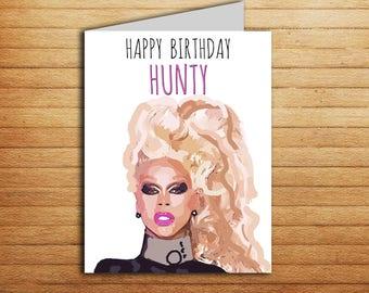 Rupauls drag race card Happy Birthday Hunty Greeting Card Printable Ru Paul Funny Birthday Card Friendship Birthday Gift for Best Friend
