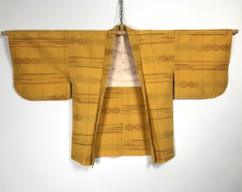 D891 Vintage 80s Japanese Kasuri Haori Kimono Womens Silk Cardigan Jacket Yellow Gold