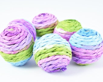 S/M/L Bon Bon Beads Crispin Round Beads, Wooden beads, Wholesale Bead /Wrapped Plastic Bead /Ball Bead, Big Hole/ Wrapped Beads,