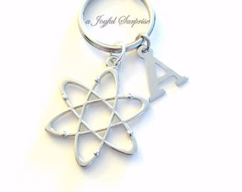 Atom Key Chain Nuclear Scientist Nucleus Keychain charm Gift for Atomic Molecular Physics Student Keyring Initial custom Teens boy girl mana