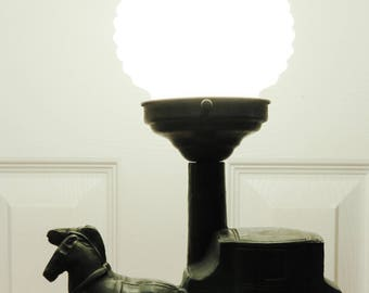 Vintage Cast Metal Horse Drawn Stagecoach Carriage Table Lamp with Hobnail Shade Bedroom Entry Living Room Den Office