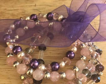 Set of 4 bracelets - Purple and Pink