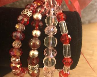 Set of 4 Elastic Bracelets - Red