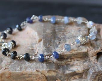 SALE 15% OFF: Sapphire Bracelet, September Birthstone, Blue Sapphire Bracelet, Ombre Bracelet, Gemstone Bracelet