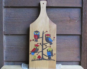 Owl Kitchen Decor  Wood Cutting Board   Vintage Kitchen Utensil