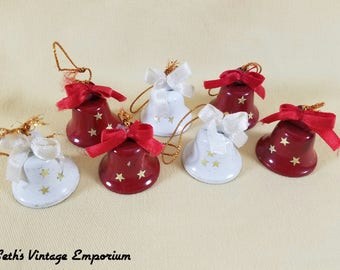 Bells ~ Red Metal Bells ~ White Bells with Stars ~ Christmas Bells ~ Party Supplies ~ Gift Wrap ~ 7 Bells ~ Seths Vintage Emporium