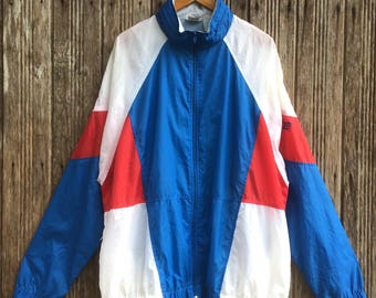Rare!! Vintage Nike Grey tag Windbreaker jacket colourblock style nice design