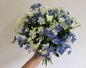 Wild, blue spring brides bouquet