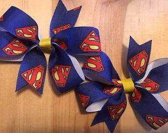 Superman Pigtail Hair Bows