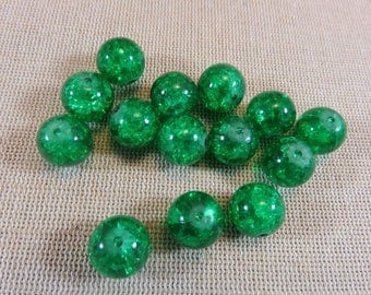 20pcs green Crackle beads, glass beads, 12mm beads, Crackle, glass beads green round beads, set of 20 beads for jewelry