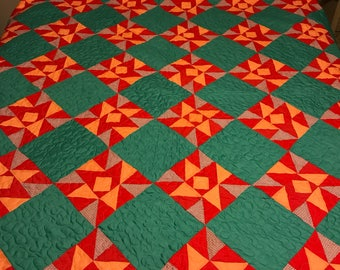 "Vintage Orange and Green Quilt top newly quilted 93"" by 73"""