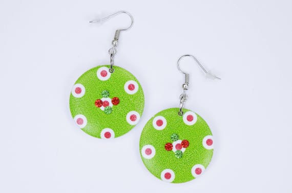 Earrings Big green buttons with rhinestones in red and green funny pendant earrings wooden dots stud earrings on silver earrings