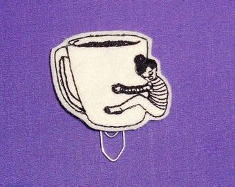 Coffee Love Hug Mug -  Book - Paper Clip - Felt Planner Clip - Planner Accessory - Stationery - Cute Paper Clip - Bookmark - Planner Clip