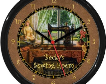 "Sewing Room Personalized 10"" Quilting Stitching  Gift Wall Clock"