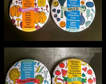 4 large Magnets 88 mms 'Season Vegetables & Fruits'