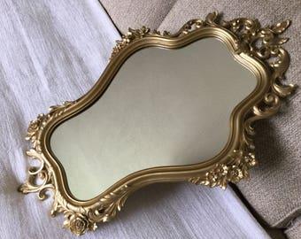 1965 Syroco Mirror, Gold Framed Curvy Fancy Feminine Floral Mirror