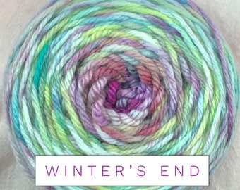 Winter's End - yarn - Hand dyed yarn - worsted weight - merino wool - multicolored yarn - free shipping yarn