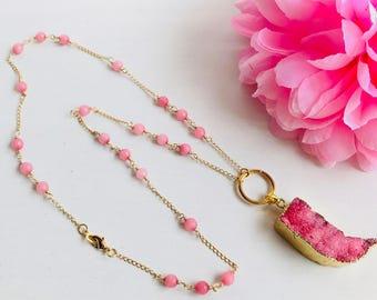 Druzy necklace, pendant necklace, natural stone, natural stones necklace,pink druzy necklace, beads and druzy neclace, pink, Long necklace