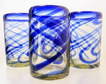 Cobalt Blue and Clear Hand Blown Glasses