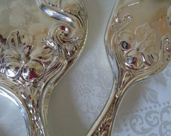 silver plated brush mirror and comb set