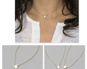 Extra Small Heart Choker Necklace in gold filled, silver, and rosegold fill, minimal heart necklace, wedding gift ( HCN H013 )