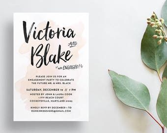 Watercolor Splash Engagement Party Invites / Champagne / Hand Lettering / Semi-Custom Party Shower Invites / Printed Invitations