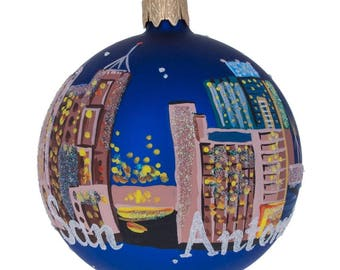 "3.25"" San Antonio, California Glass Ball Christmas Ornament"