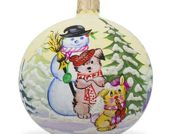"""3.25"""" Snowman, Cat and Dog by Christmas Tree Glass Ball Ornament"""