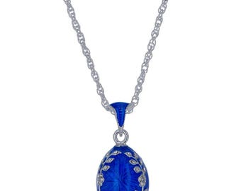 """Olive Branches Blue Enamel Russian Royal Egg Pendant Necklace 22"""""""