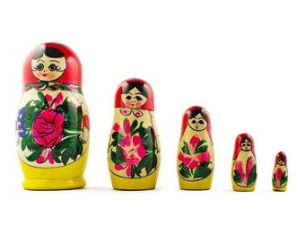 "4.5"" Set of 5 Semyonov Traditional Wooden Matryoshka Russian Nesting Dolls"