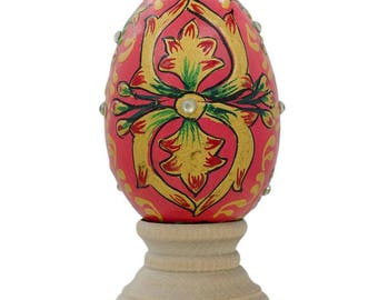 "3"" Jeweled Embossed Oriental Red Flower Wooden Easter Egg"