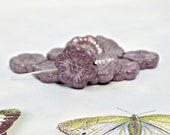 18mm Czech Glass Flower Beads, Mauve Lavender w/ Purple and Gray Wash Mix, Artisan Glass Beads (4pc), DIY Jewelry Boho Bead Supply