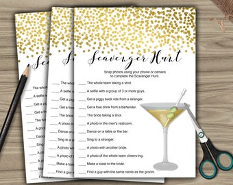Scavenger Hunt - Game - Cards - PRINTABLE - INSTANT DOWNLOAD - Gold - Confetti - Bridal Shower - Bachelorette Party - L58