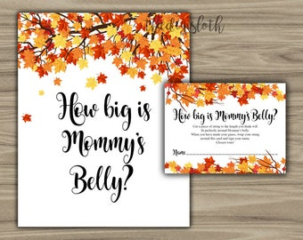 Fall Baby Shower - How Big Is Mommy's Belly - Game - Sign - Cards - Printable - Instant Download - Autumn Theme Baby Shower - 0108