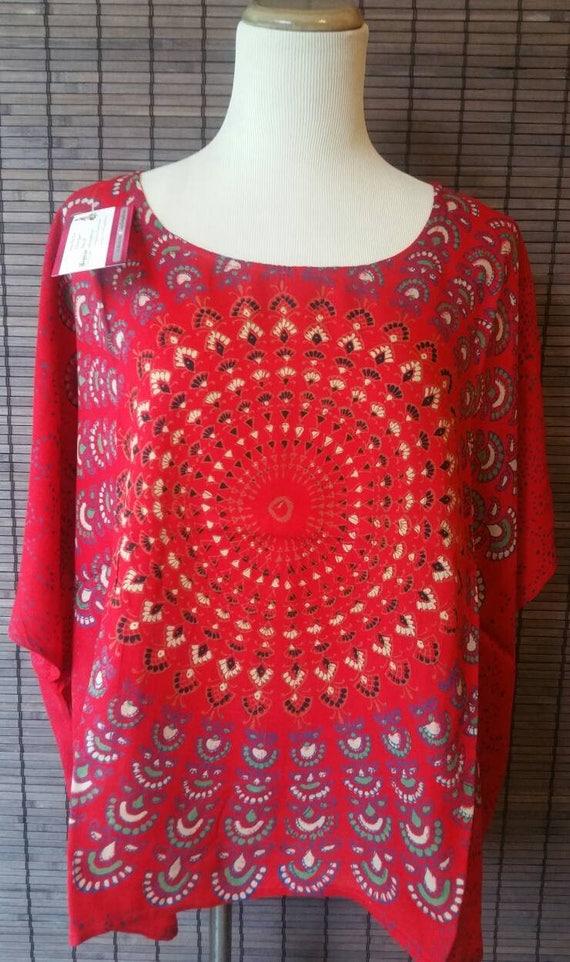 Ravishing Red Mandala top Mandala tunic short caftan short kaftan Hippie tunic crop top gypsy tunic short top summer top poncho top upto 5Xl