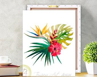 Tropical Botanical Wall Art- Modern Home Decor- Tropical Wall Art- Exotic Bird Of Paradise- Plant Wall Art, Tropical Art Canvas Print
