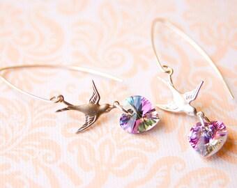 Silver Bird Earrings Purple Swarovski Crystal Heart Earrings Light Vitrail Earrings Long Dangle Earrings Mothers Day Gift For Her