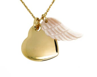 Gold leaning Heart Necklace and Pearl personalized angel wing
