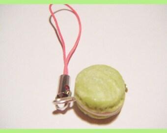 Phone charm strap portable fimo macaroon candy treats Fimo Green