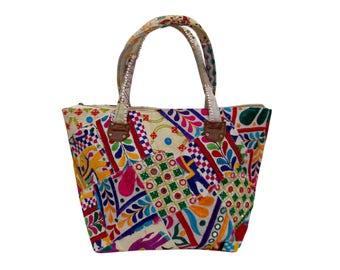 Indian Cotton Banjara Embroidery Handbag in White Color
