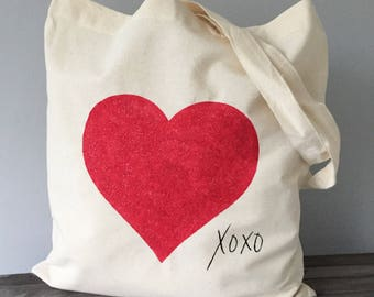 Glitter heart XOXO hand painted reusable cotton tote bag. Canvas book bag, shimmer, swim bag, back to school bag, girl PE kit, gift for her