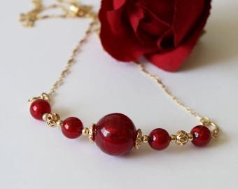 Ruby red Muretti Murano Venetian bead necklace