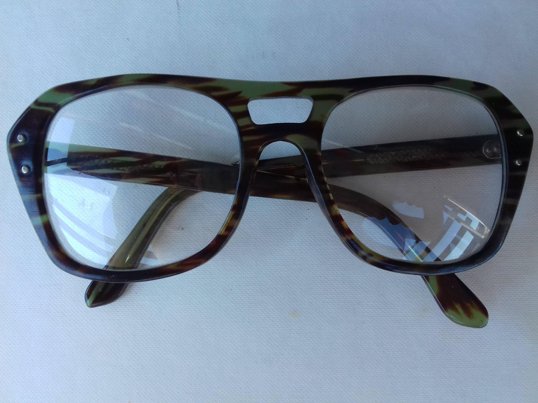 Vintage Nerd Aviator Glasses Frames in Tortoise Green color, Vintage ...