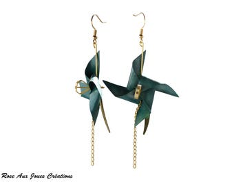 Earrings original teal origami