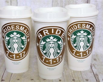 Bridal Party Starbucks Cups-Bridal Party Gifts-Personalized Cups-Starbucks Cups-Wedding Party Cups-Custom Starbucks- Bridal Shower Gifts